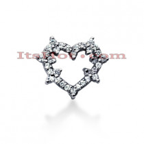 14k Gold Round Diamond Heart Pendant 0.55ct