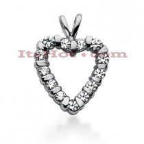 14k Gold Round Diamond Heart Pendant 0.97ct