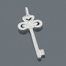 14K Gold Round Diamond Key Pendant 1.09ct