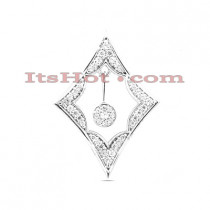 14K Gold Round Diamond Kite Pendant 0.38ct