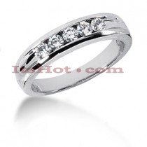 14K Gold Round Diamond Men's Wedding Ring 0.35ct