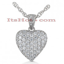 14k Gold Round Diamond Pave Heart Pendant 0.50ct