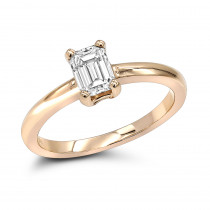 14K Gold Emerald Cut Diamond Solitaire Engagement Ring 0.5ct