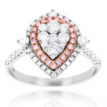 Unique 14K Gold White Pink Diamond Pear Shape Ring for Women Cluster Design