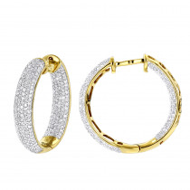 14K Inside Out Pave Diamond Hoop Earrings 1.5ct