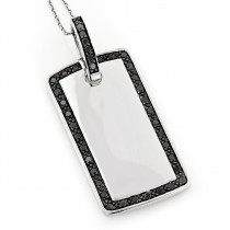 14K Solid Gold Dog Tag Pendant With Black Diamonds 1.10