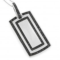 14K Solid Gold Dog Tag Pendant With Black Diamonds 1.34