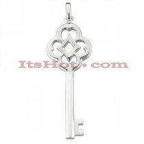 14K Solid Gold Key Pendant Necklace