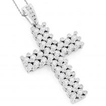 14K Gold Unique Mens Diamond Cross Pendant 7.15ct