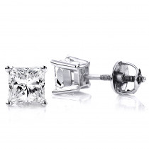14K White Gold Princess-Cut Diamond Stud Earrings 1.5ct