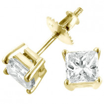 14K Yellow Gold Diamond Stud Earrings Princess 1.50ct