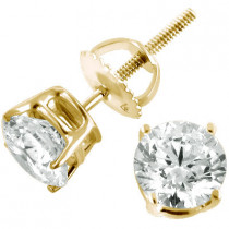 14K Yellow Gold Earrings Round Diamond Studs 0.33ct