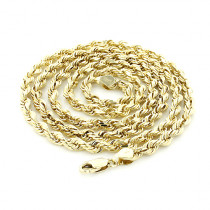 Mens Solid 14K Yellow Gold Rope Chain by Luxurman 5mm 22-30in