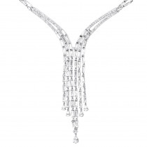 18k Gold Antique Style Ladies Diamond Necklace Round Baguette Pear Diamonds