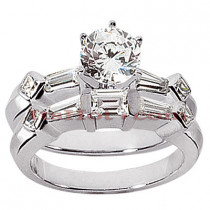 18K Gold Diamond Engagement Ring Mounting Set 0.96ct