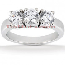 Thin 18K Gold Diamond Three Stones Engagement Ring 0.75ct