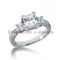 Thin 18K Gold Diamond Three Stones Engagement Ring 1.65ct