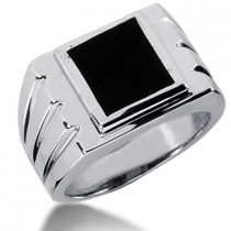 18K Gold Men's Black Onyx Ring