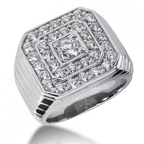 18K Gold Men's Diamond Ring 1.31ct
