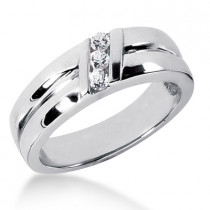 18K Gold Men's Diamond Wedding Ring 0.18ct