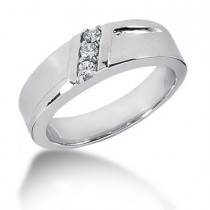 18K Gold Round Diamond Men's Wedding Ring 0.15ct