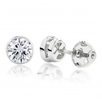 18K Gold Solitaire Round Diamond Bezel Stud Earrings 0.5ct