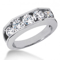 18K Gold Women's Diamond Wedding Ring 1.80ct