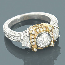 Unique 18K Gold Half Moon and Round Diamond Engagement Ring 1.5ct