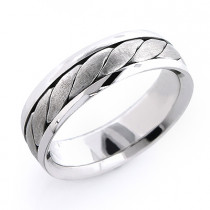 18K Solid Gold Mens Woven Wedding Band