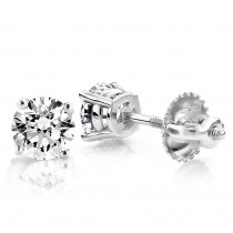 One Carat 18k White Gold 4 Prong Round Diamond Stud Earrings