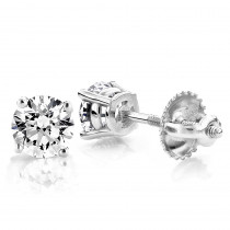 2ct Round Cut Diamond Platinum Stud Earrings
