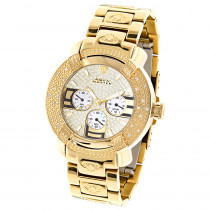 Aqua Master Watches: Mens Diamond Watch Yellow Gold Plated