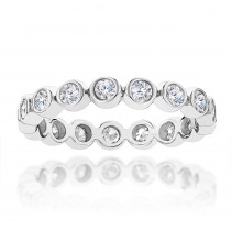 Thin Bezel Set Round Diamond Eternity Ring 1.25ct 14K Gold