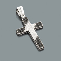 Black and White Diamond Cross Pendant 0.51ct Silver