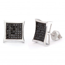 Black Diamond Earrings 0.50ct Sterling Silver