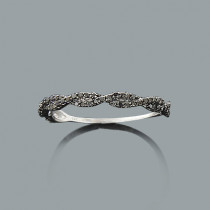 Ultra Thin Black Diamond Twist Ring 0.28ct 14K Stackable