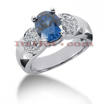 Blue Sapphire Engagement Ring with Diamonds 14K 0.21ctd 2cts
