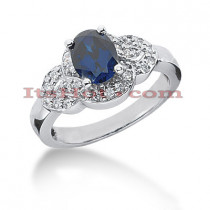 Blue Sapphire Engagement Ring with Diamonds 14K 0.26ctd 1.25cts