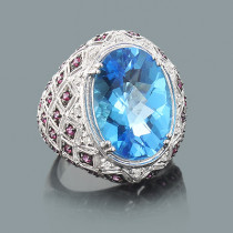 Cocktail Rings: Large Blue Topaz Ring with Pink Sapphires and Diamonds 14K