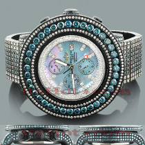 Custom Breitling Super Avenger White Blue Diamond Watch 55.7ct