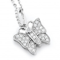 Cute Diamond Butterfly Pendant 14K 0.19ct