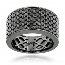 Designer 10K Gold Black Diamond Wedding Band for Men 1.67ct Luxurman Ring
