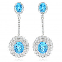 Designer Blue Topaz Diamond Earrings for Women by Luxurman 3.5ct 14K Gold