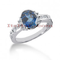 Diamond and Blue Sapphire Engagement Ring 14K 0.33ctd 1.25cts
