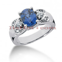 Diamond and Blue Sapphire Engagement Rings: 14K Gold Ring .18ctd 2cts