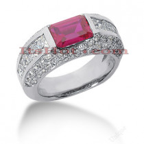 Diamond and Ruby Engagement Ring 14K 2.30ctd 1.50ctr