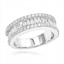 Diamond Bands 14K Gold Round Baguette Diamond Band 1.84