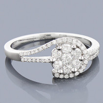 Cheap Engagement Rings 14K Gold Ladies Diamond Cluster Ring 0.61ct