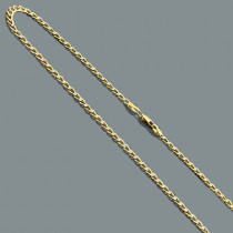 Diamond Cut Curb Chain Necklace in 14K Gold 3.5mm 22""