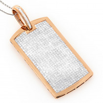 Diamond Dog Tags 14K Iced Out Dog Tag Pendant 11.25ct